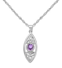 Celtic Trinity Knots Silver Oval Pendant with Amethyst 9334